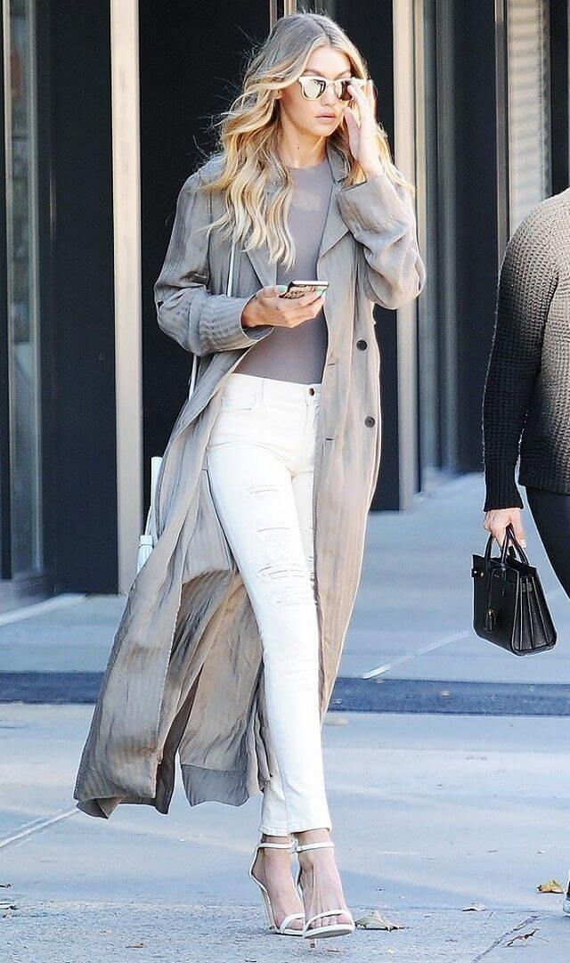 Gigi Hadid looking classy in a long-over coat.