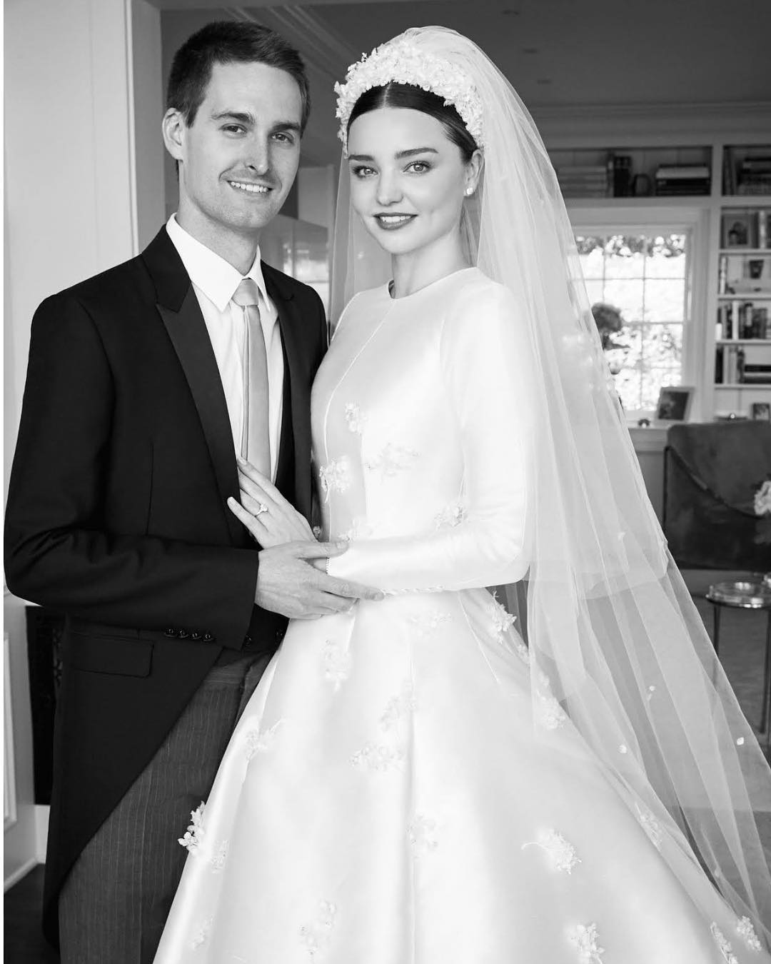 Miranda Kerr and Evan Spiegel on their wedding day